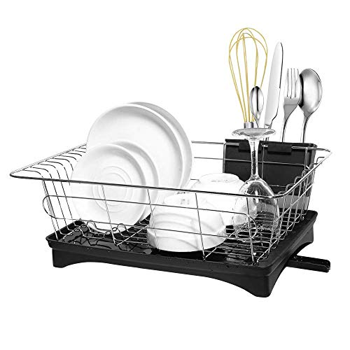 Dish Drying Rack, Dish Racks with Drain Board Utensil Holder Small Size Sturdy DrainBoard Set for Kitchen Counter Plate Dishes Drainer Dinnerware Storage Racks Stainless Steel -16.5 x 11 x 6 IN