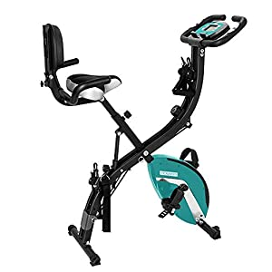 PEXMOR 3 in 1 Adjustable Folding Exercise Bike Convertible Magnetic Upright Recumbent Bike with Arm Bands and Leg Bands (Green)
