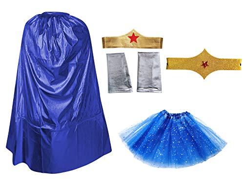 Disfraz Superhéroe Poder Niña Mujer,Conjunto Falda Tutú con Estrella, Capa, Pulseras Cinturón y Tocado (Pack Azul Superwoman)