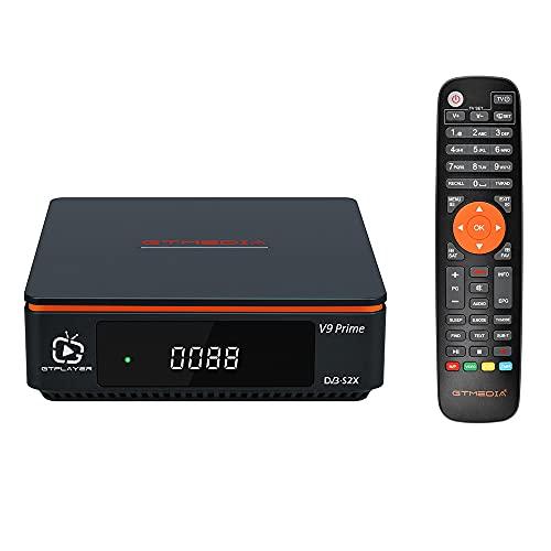 GTMEDIA V9 Prime Decodificador Satelite DVB-S/S2/S2X 2.4G WiFi Incorporado Receptor Satelite Soporta PVR/T2-MI/Biss Auto Roll/AVS+/VCM/ACM,H.265 1080P Full HD IPTV,HEVC 10 Bits, Cccam, Newcam, youtube