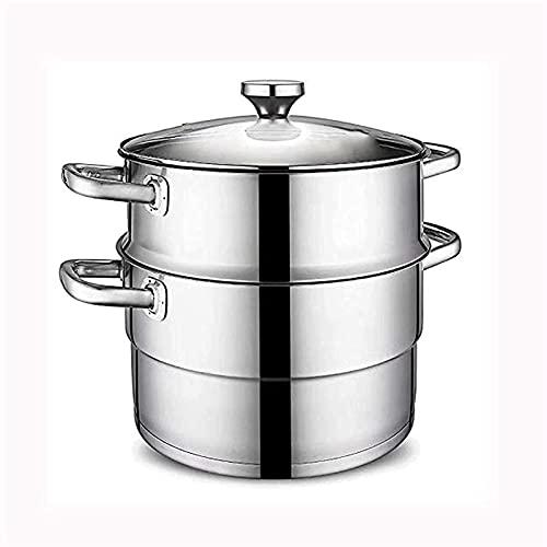 DYB Juego de Utensilios de Cocina para Acampar, vaporizador de Acero Inoxidable de Doble Capa para el hogar, vaporizador de 26 cm con Fondo de 2 Capas y Tapa de Vidrio