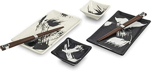 yoaxia ® - [ MEIAN ] Japan Keramik Sushi-Set je 2x Teller, Dipschale, Essstäbchen - Set in Geschenkverpackung