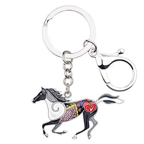 LZHLMCL Keychain Pendantenamel Alloy Running Horse Key Chain Keychains Rings Fashion Animal Jewelry For Women Girl Bag Car Pendant Grey