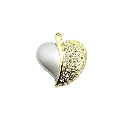 WooTeck 64GB Rhinestone Diamond Metal Heart USB Flash Drive,Fashion Jewelry Bling Shiny Crystal Pendant