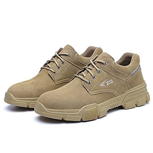WggWy Zapatillas De Trabajo Antideslizantes para, Calzado De Trabajo De Seguridad Calzado De Construcción Industrial Transpirable Zapatos para Caminatas Al Aire Libre,Marrón,10.5
