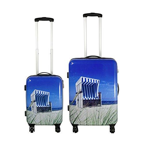Polycarbonat Koffer-Set 2-teilig - Strandkorb Reisekoffer Trolley Hartschalenkoffer - Koffer in S-M