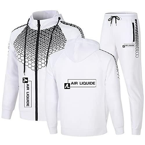Woakzhe Chándal para hombre Air-Liquide con pantalón y cremallera, chaqueta completa, chándal de manga larga, clásico con capucha, poliéster, color blanco 1, XXL