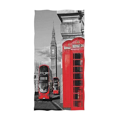 ZXYAIAN Toallas de mano decorativas para el hogar, diseño vintage de Inglaterra, Londres, cabina telefónica en la calle, suaves, grandes, multiusos, para baño, hotel, gimnasio y spa (40,6 x 76,2 cm)