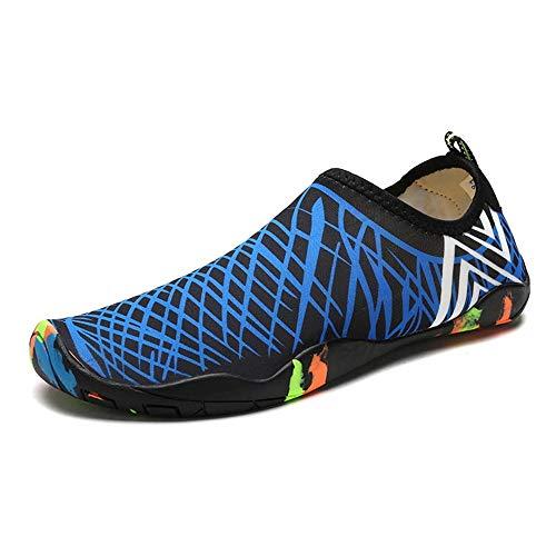 TWFY Agua Zapatos Hombres Mujeres Damas de Buceo Playa Piscina al Aire Libre, Zapatos, Zapatos de vadeo de los Hombres de Zapatos Descalzos para Nadar en la Playa (Color : Blue, Size : 36)
