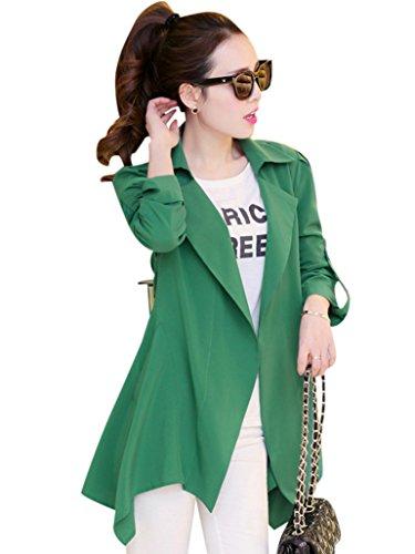 Missfox Donne Hem Asimmetrico Del Cappotto Di Trincea Jacket Size XXXL Verde