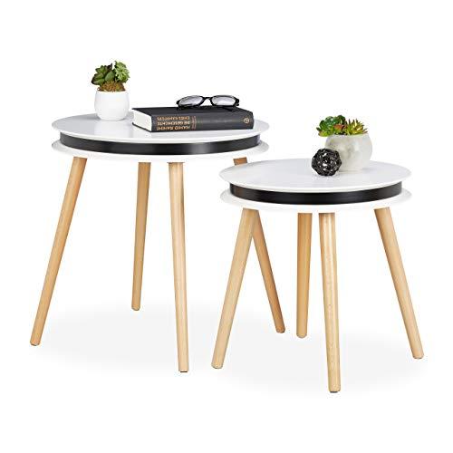 Relaxdays Set van 2 bijzettafels, houten poten, 5 cm dik tafelblad rond, zittafel, woonkamer, 40 & 48 cm Ø, wit/natuur, 48,5 x 48 x 48 cm