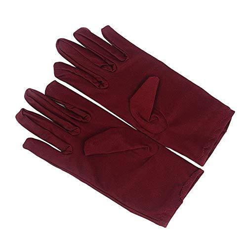 MoreChioce 10 pares de guantes de algodón, color blanco, guantes de trabajo, 20 cm, guantes largos para inspección de joyas, trabajo diario, color rojo vino