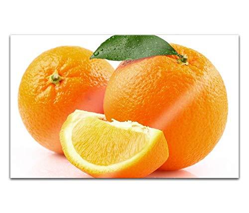 Acrylglasbilder 80x50cm Orange Küche Obst Apfelsine Blatt Acryl Bilder Acrylbild Acrylglas Wand Bild 14H649
