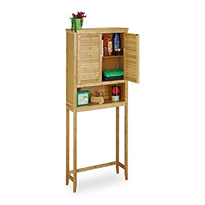 Relaxdays LAMELL Bamboo Washing Machine Cabinet, Floor Storage Unit, Bath Cupboard with Winged Doors, Wood, 3 Shelves, Size: ca 170 x 70 x 22.5 cm, Natural Brown, 22.5x70x176 cm