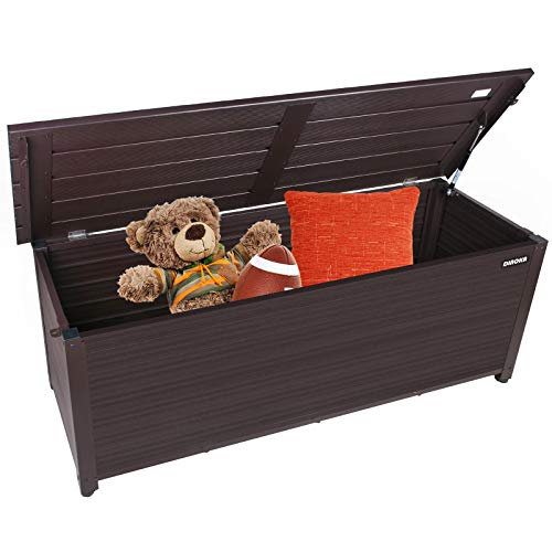 DINOKA Aluminum Deck Box, Firm Aluminum 75 Gallon Deck Box-Organization and Storage for Patio Furniture Outdoor Cushions, Throw Pillows, Garden Tools and Pool Toys Waterproof & Ratproof