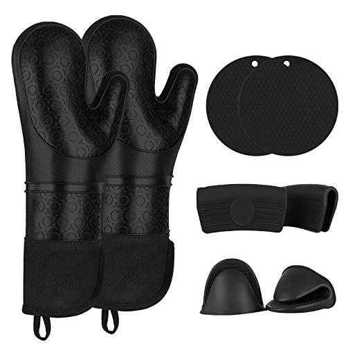 Guante de silicona 8 en 1, impermeable y resistente al calor, con 2 agarraderas y 2 asas de silicona y 2 guantes de horno de silicona para barbacoa.