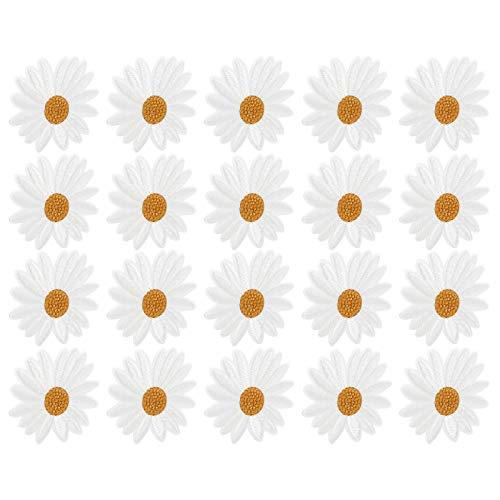 Etiqueta engomada de la ropa, parches de mochila personalizados transparentes 20pcs hechos de tela parche de margarita para decorar bricolaje camisetas