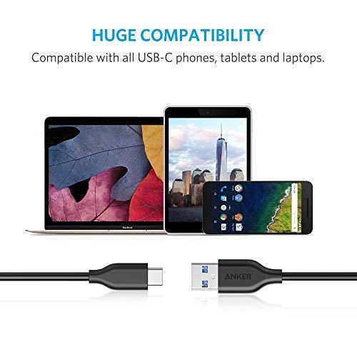 Anker USB C Kabel, Powerline USB 3.0 auf USB C Ladekabel (3 m) mit 56k Ohm Pull-Up-Widerstand für Samsung Galaxy Note 8, S8, S8+, S9, Oculus Quest, Sony XZ, LG V20 G5 G6, HTC 10 und mehr