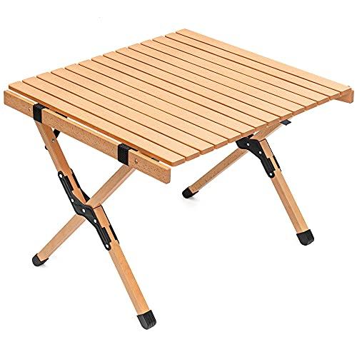 TOMOUNT ウッドロールトップテーブル 天然木 コンパクト キャンプテーブル アウトドア テーブル 簡単組立 収納バッグ付