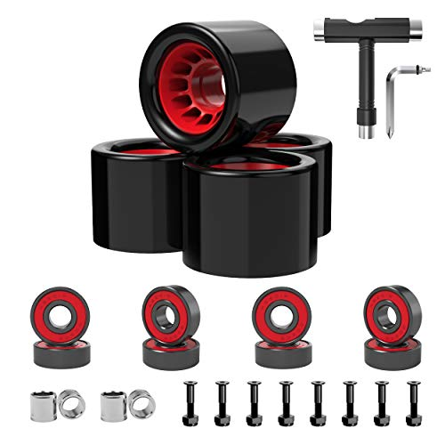 Skateboard Wheels 70mm 60mm 80a with Skateboard T Tool and ABEC-9 Bearings Spacers Cruiser Wheels (Pack of 4) (60mm with T Tool)
