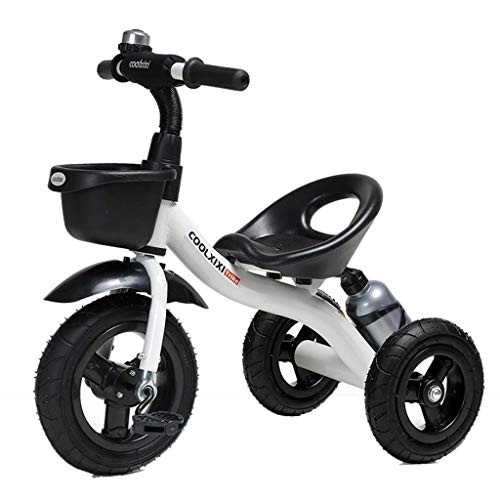 ZHNA Triciclo Rider Trike Moda Bambini Bicicletta Bambini Ride-On Bike con Supporto bollitore, 2-5 Anni all'aperto Outing Toy Car (Color : White)