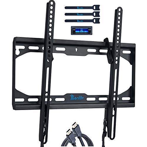 RENTLIV TV Wall Mount Bracket Tilt TV Mount Low Profile for Most 23-55 inch LED OLED LCD HD TVs Plasma Flat Curved Screens VESA Pattern up to 400X400 mm 110 LBS Loading Fits 8' 12' 16' Wood Studs