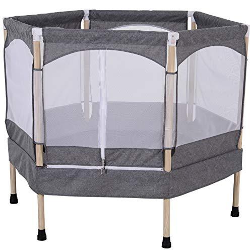 HOMCOM 50 inch Hexagon Kids Trampoline w/Safety Enclosure Net Bounce Spring Outdoor Rebounder Grey