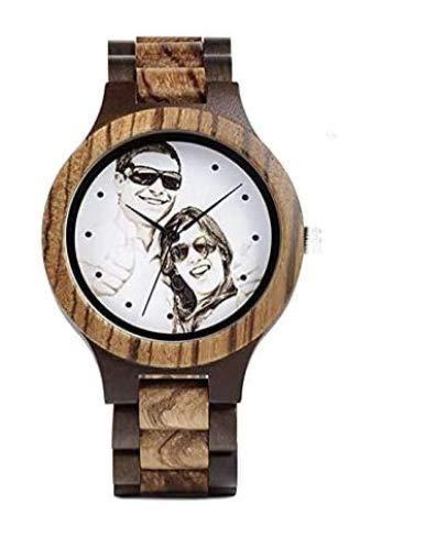 Unikat - Holz Armbanduhr unisex - Qualitativ hochwertige Uhr mit individuell anpassbaren Zifferblatt in Farbe oder schwarz weiss incl. Gravur - Porträt Logo oder sonstige Motive