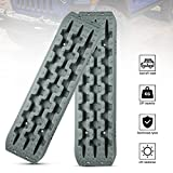 Kanruis Traction Boards Emergency Recovery Tracks for 4WD Off-Road Sand Mud Snow, 2 Pcs Tire Ladder Mat (Grey)