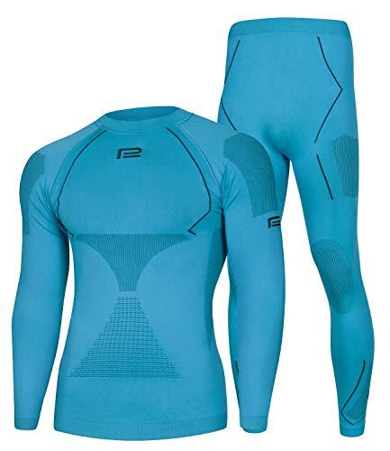 Prosske Sous-vêtements fonctionnels thermiques Extreme 2.0 - Pour homme - Respirant - Bleu et noir - Taille XL/XXL