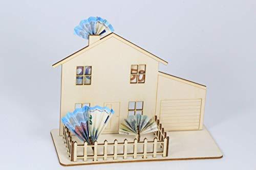 Geldgeschenk für Haus, Wohnung, Einzug, steckbar, aus Sperrholz