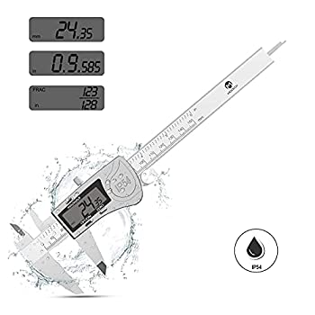 Digital Caliper MOOCK 0-6 inches Calipers Measuring Tool Electronic Digital Micrometer Vernier Caliper with Stainless Steel IP54 Waterproof Large LCD Screen Inch Millimeter Fractions Conversion