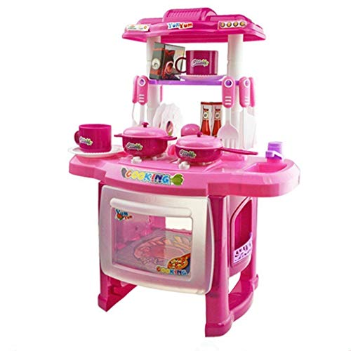 Simulation Kitchen Playset, Home Pretend Play Cooking Tableware Set with Lights and Sound for Kids (for Kids Gift, Pink)