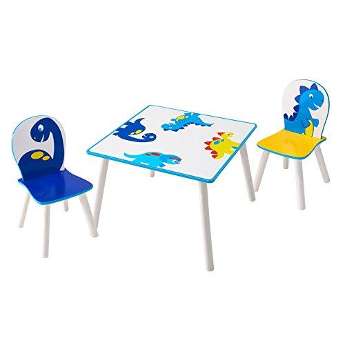 Worlds Apart Dinosaurier - Set aus Tisch und 2 Stühlen für Kinder, Holz, White and Blue, 63 x 63 x 52.5 cm
