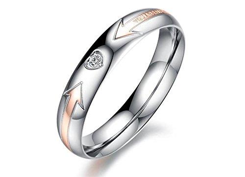 Designer Inspired - Anello di design, in acciaio, titanio, l'ideale per matrimoni, con zirconia cubica, Acciaio, 16, colore: Rosa oro female, cod. 1