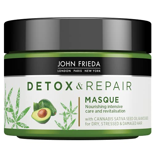 John Frieda Detox & Repair Masque Hair Mask 250ml for Dry, Stressed & Damaged Hair with Cannabis Sativa Seed Oil & Avocado
