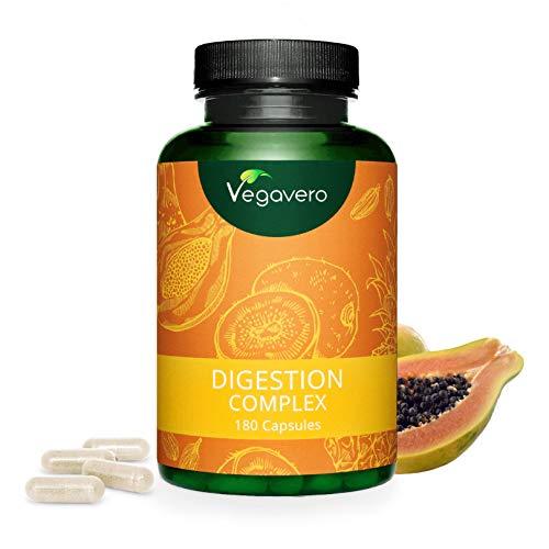 VEGAVERO® Papain Komplex | 100% PFLANZLICH | 3 Verdauungs- Enzyme | Papain, Bromelain & Actinidin | 180 Kapseln | Verbesserter Papaya-Ananas-Enzymkomplex | Ohne Zusatzstoffe | Vegan