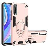 vingarshern Funda para Huawei Y8P (2020) Carcasa Diseño 2 en 1,TPU Cover+Hard PC Caja,Anti-Choque Estuches Huawei Y8P 2020 Fund con Soporte Móvil(Oro Rosa)