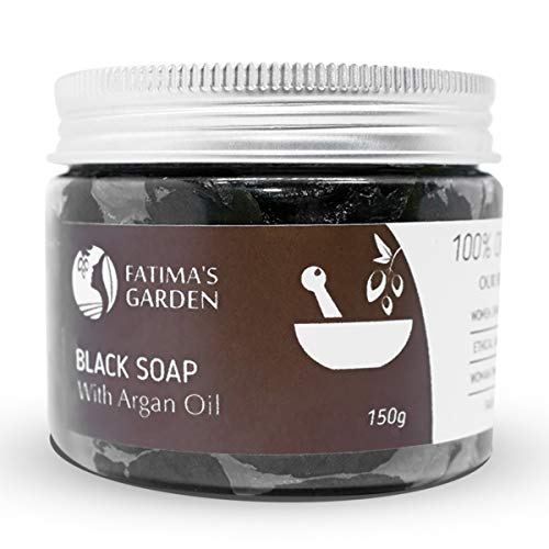 Black Soap (Beldi Soap) with Argan Oil by Fatima's Garden - 100% natural Moroccan Black Soap, Body Scrub, Pure & Natural, Purifying, Cleansing, exfoliating for Hammam Ritual- 5.3 Oz / 150gr