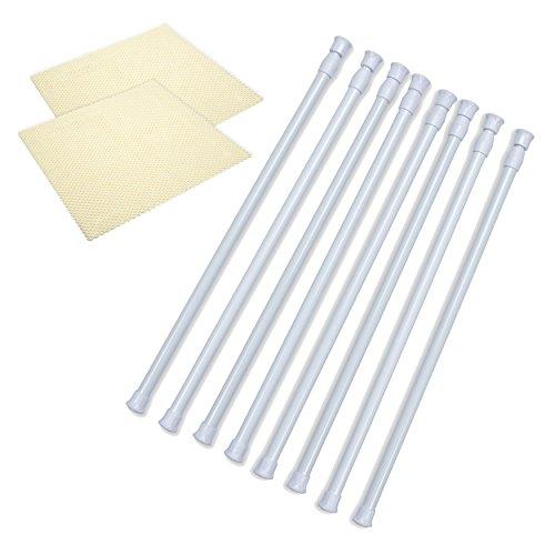 Danily 8er-Pack Einstellbare Federspannstangen von Danily 40 bis 70 cm, weiß, werden mit rutschfesten Regalboden geliefert