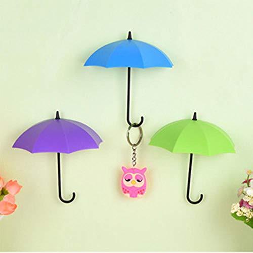 KWHY 3 stks Creatieve Paraplu Vormige Sleutel Hanger Rack Home Decoratieve Houder Muur Haken Voor Keuken Badkamer Accessoires Gadgets, paars Blauw Groen