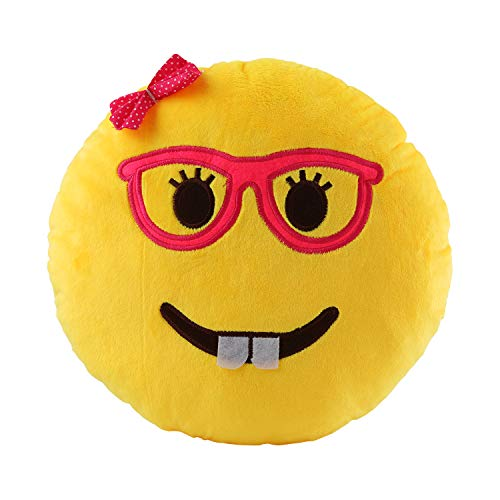 VicLabs New Fashionable Cute Smiley Emoticon Emoji Pillow for Kids and Young Ladies (Dia 12.5 Inch, Lady Nerd Round Yellow Cushion)