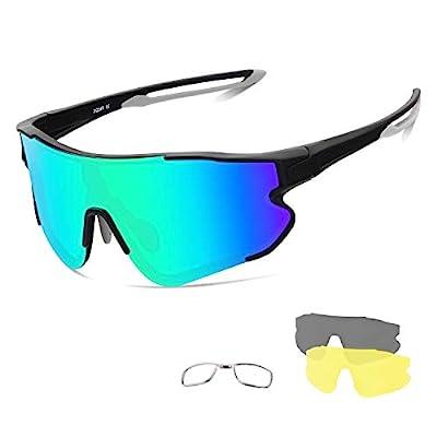 Xiyalai Cycling Sports Sunglasses,Polarized Sports Sunglasses for Men Women,with 4 Interchangeable Lenses,Baseball Running Fishing Golf (Black/Green)