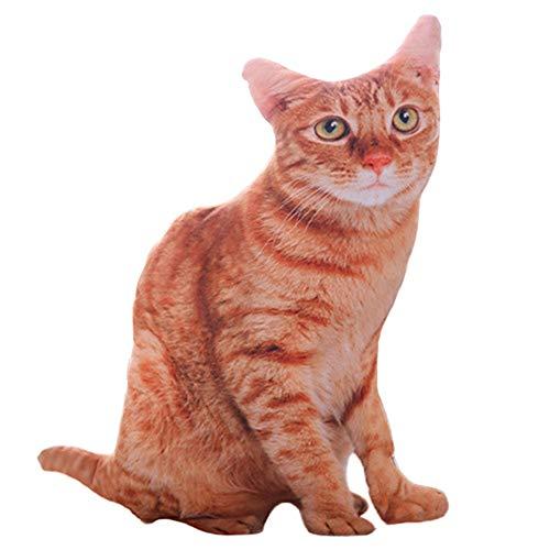CVBN Almohada de Gatos de simulación 3D de 50CM Almohada rellena de Felpa Lavable de Gato Lindo, marrón