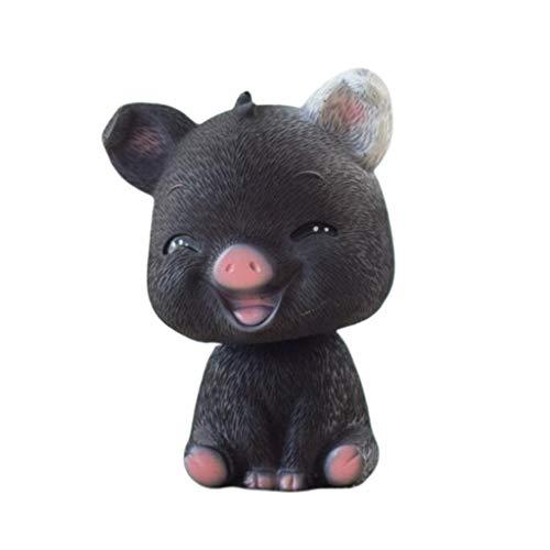 Fenteer Statue De Cochon Statue d'animal pour Intérieur Décoration Extérieure Jardin Pelouse Cour Ornement - Œil de clignotement Noir