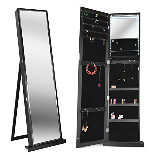 FUNKOCO 79 LED Jewelry Armoires,Jewelry Storage Cabinets,Standing Wall Jewelry Organizer with Full Length Mirror-Black