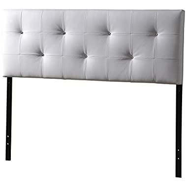 Baxton Studio Wholesale Interiors Dalini Headboard with Faux Crystal Buttons, Queen, White