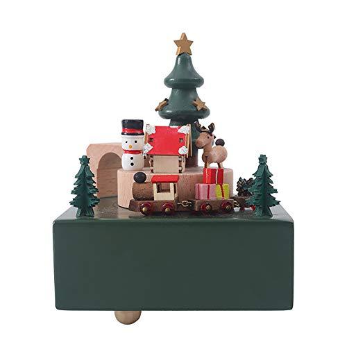 WLPTION Caja de música de madera para Navidad, caja de música de árbol de Navidad, caja musical para cumpleaños, boda, Navidad, San Valentín, cumpleaños, mejor regalo
