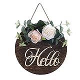 æ— Placa de madera para colgar en la puerta, rústica y redonda de Hello Signs, placa de bienvenida con flores artificiales para decoración de porche de puerta delantera