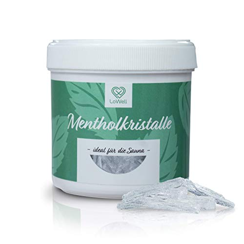 LoWell® 100g Mentholkristalle in wiederverschließbarer Dose - Sauna Kristalle Saunakristalle Menthol - 100% Minzöl